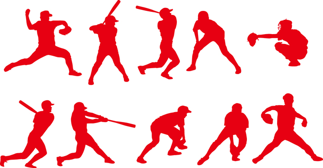 Baseball player _ Silhouette _ Set _ 01 _ Red