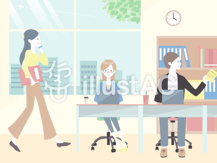 オフィスで働く人たちのイラスト