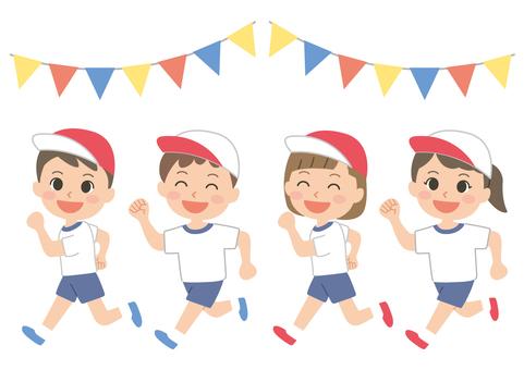 Children's athletic meet running