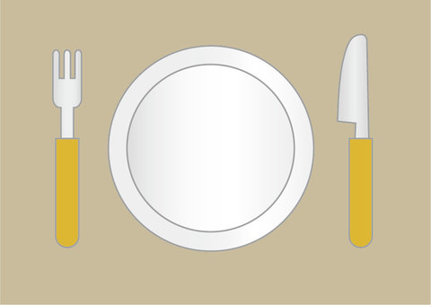 Plate and knife and fork