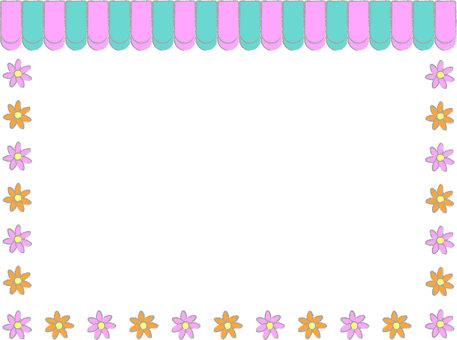 Cafe curtain & amp; flower frame
