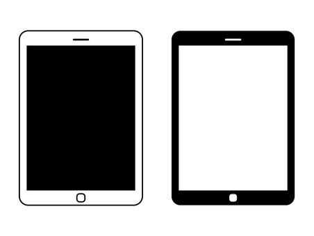Tablet terminal black and white icon
