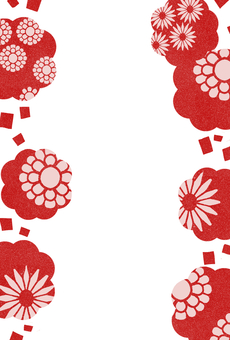 Natural frame material 64 Japanese pattern red