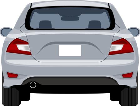在銀色後面的汽車背面圖