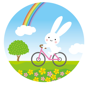 A rabbit riding a bicycle
