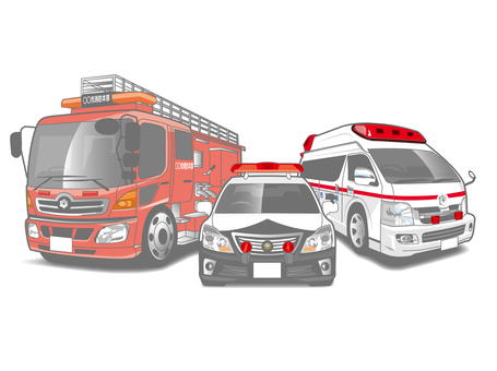 Ambulance Police car police car