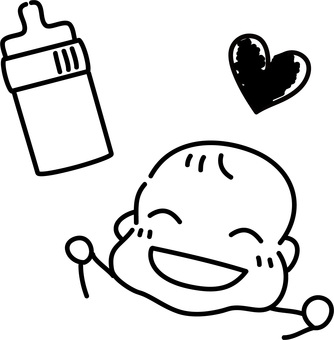 Hand drawn rough-baby delighted with milk