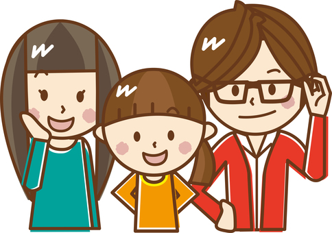 Smiling family of three people _B 01 【Pastel】