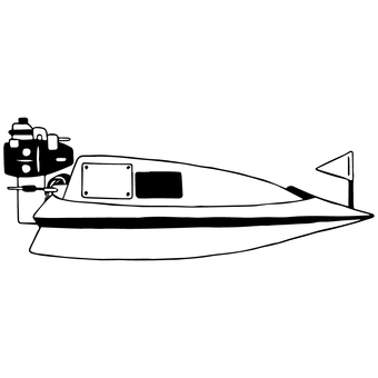 Racing boat (monochrome)