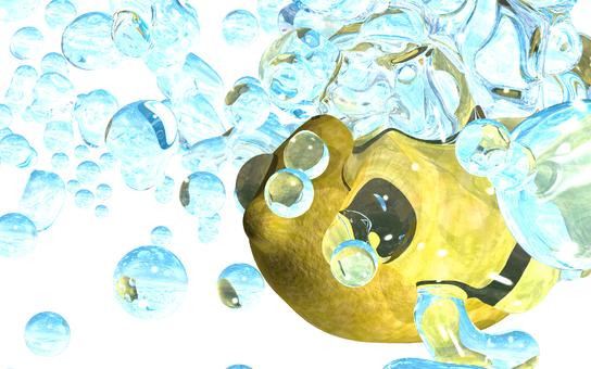 Water splashed on lemon 4 (background transmission)