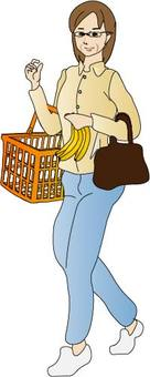 Middle-aged woman shopping for food
