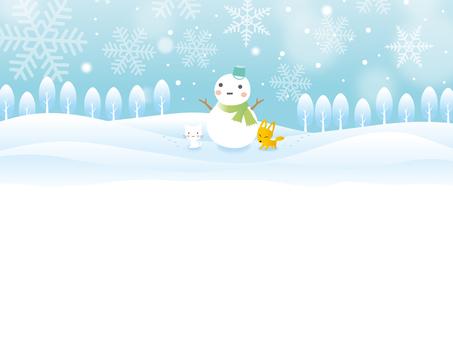 雪景色の中の雪だるま背景