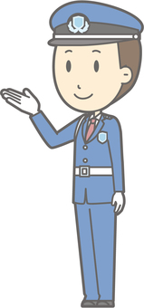 Security guard - guide left diagonal - whole body