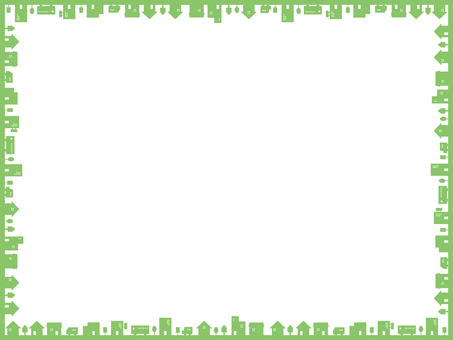 Simple townscape frame green