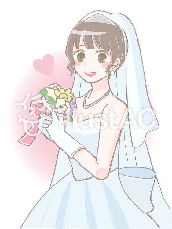 ウェディングドレス姿の花嫁イラスト , No 1078163/無料