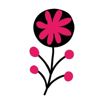 Scandinavian flowers (black, pink)