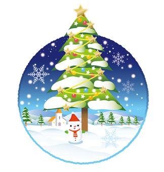 Christmas tree of winter scenery