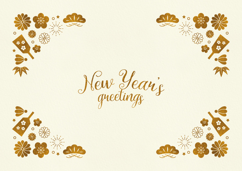 Japanese style frame 009 New Year golden color