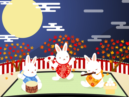 Banquet at the moon view · autumn leaves · rabbit background
