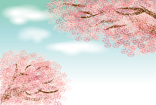 Cherry Tree and Sky and Cloud Background
