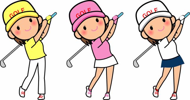 ゴルフをする女の子