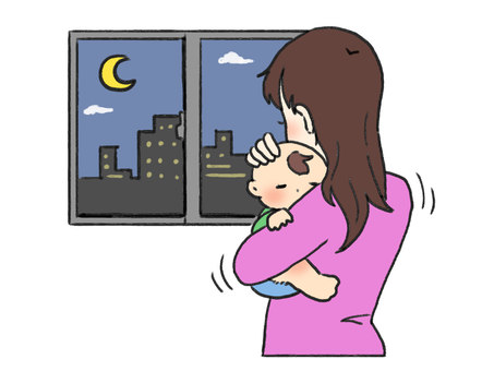 Mother who cares for children at night
