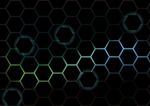 黒色の幾何学六角形青色抽象背景素材