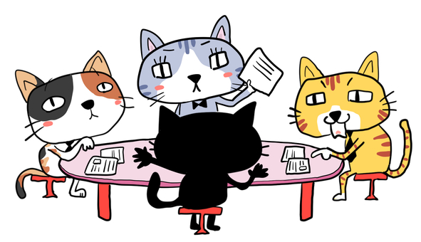 会議する4匹の猫