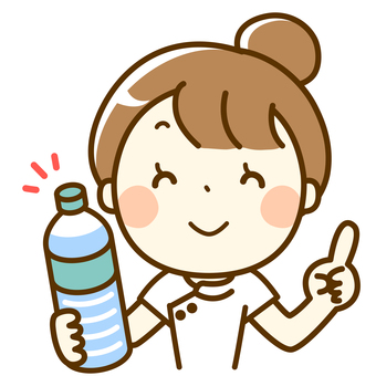 A nurse with a plastic bottle