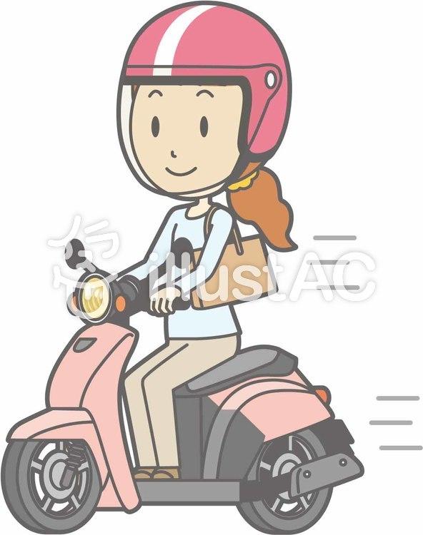 バイク-スクーター乗る-全身のイラスト