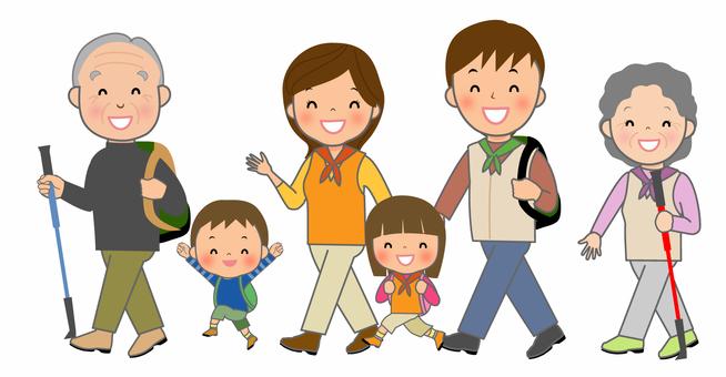 お散歩する家族