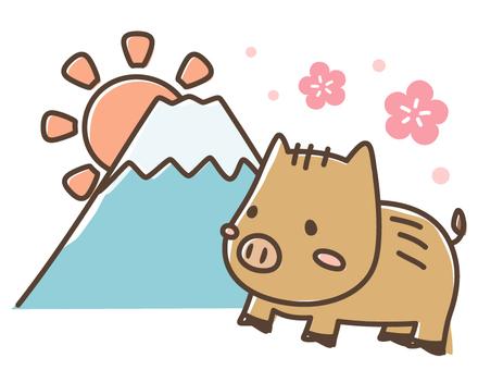 亥の手書き風正月用イラスト_猪と富士山