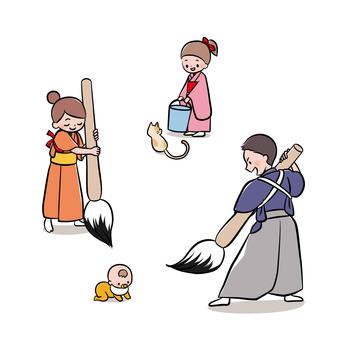 큰 붓으로 서예를하는 가족