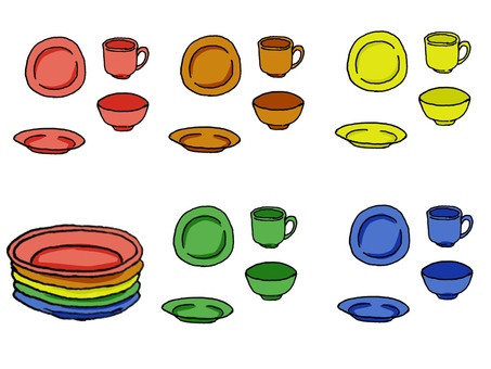 5 color dishes