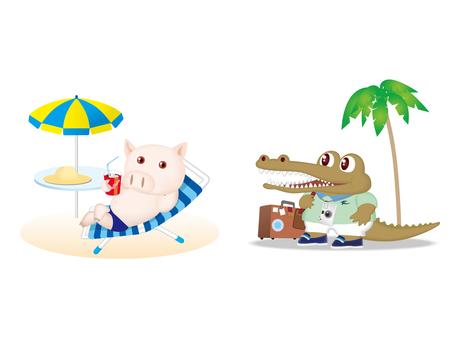 Pig, crocodile character