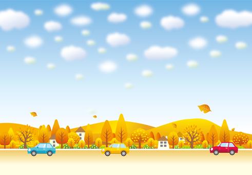 Drive through a suburban town in autumn