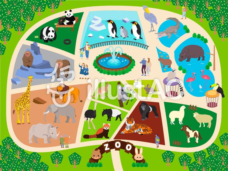 森の動物園のイラスト