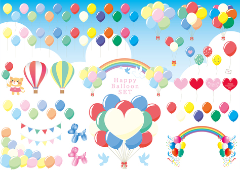 Set of balloons and balloons