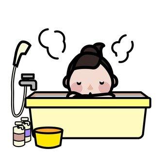 Mother entering the bath