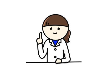 White female pointing feminine upper body