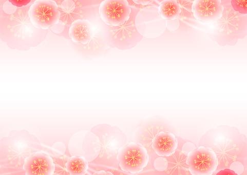 복숭아 꽃과 유선의 호와 호와 프레임
