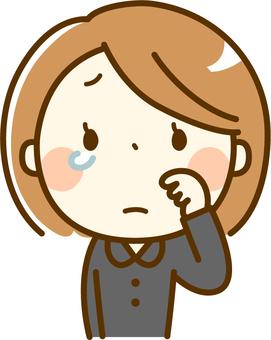 Mourning women shedding tears