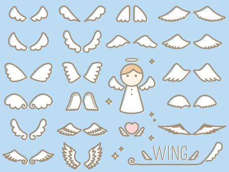 Handwriting style angel wings (wings) set