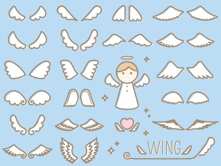 手書き風の天使の羽(翼)セット