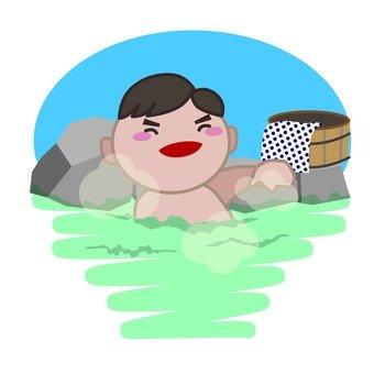 Men immersed in hot springs