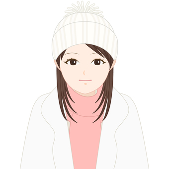 Winter clothes girls expressionless