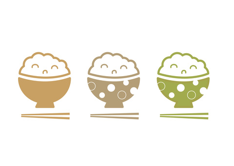 Japanese cuisine bowls white rice