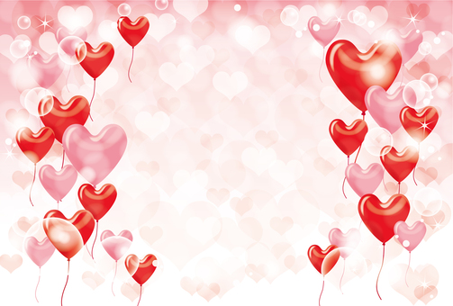 Heart balloon and heart background Pink