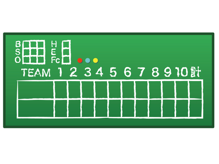 野球スコアボード緑黒板 手書き風デザイン