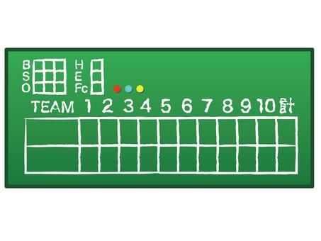 Baseball scoreboard green blackboard handwriting style design